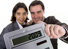 Business team holding a calculator Stock Photography