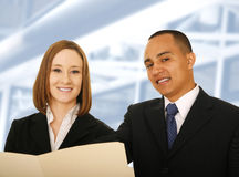 Business Team Holding Folder And Smiling royalty free stock photo