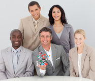 Business team holding molecules in the office stock image
