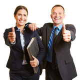Business team holding thumbs up Royalty Free Stock Photos