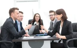 Business team holds a brainstorm. Brainstorming. professional business team at the briefing royalty free stock photos