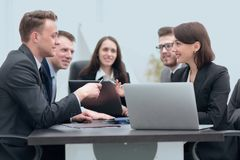 Business team holds a brainstorm. Brainstorming. professional business team at the briefing stock photography