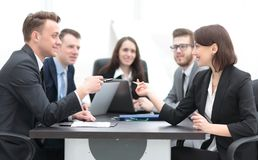 Business team holds a brainstorm. Brainstorming. professional business team at the briefing royalty free stock photography
