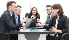 Business team holds a brainstorm. Brainstorming. professional business team at the briefing stock photo