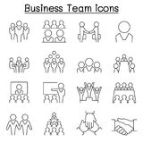 Business team icon set in thin line style Royalty Free Stock Images