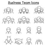 Business team icon set in thin line style Royalty Free Stock Image