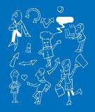Business team icons set. Cartoon vector emblem, different people stock illustration