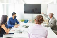 Free Business Team In A Video Conference Meeting Stock Photo - 189648200
