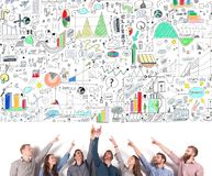 Business team indicate a business project. concept of creative idea and teamwork Royalty Free Stock Photo