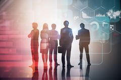Business team, infographics. Silhouettes of diverse business team members over immersive interface with business infographics. Toned image double exposure royalty free stock images