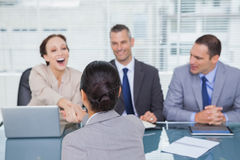 Business team interviewing young applicant Royalty Free Stock Photography