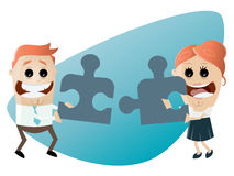 Business team with jigsaw puzzle working together Stock Photo