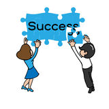 Business team jigsaw. Success cartoon vector Royalty Free Stock Images