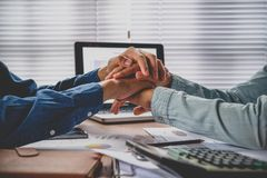 Business team join hand together during stock photography