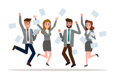 Business team jumping celebrating success. Victory and teamwork concept. Stock Image