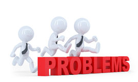 Business team jumping over a hurdle obstacle problems. Isolated Royalty Free Stock Photo