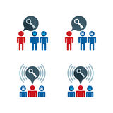 Business team with key symbol, solution concept, vector icons se Stock Photo