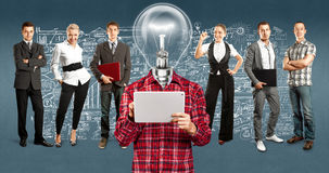 Business Team With Lamp Head Stock Photos