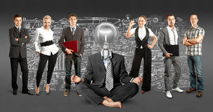 Business Team With Lamp Head Royalty Free Stock Photography