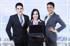 Business team with laptop on business presentation Stock Photography