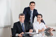 Business team with laptop computer royalty free stock photo