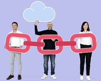 Business team with a large magnet royalty free stock image