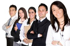Business team lead by a business woman Stock Image