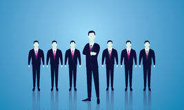 Business Team Leader Concept. Vector illustration. Business team leader leadership teamwork concept. A leader stand out in the front of lined people. Team of Royalty Free Stock Images