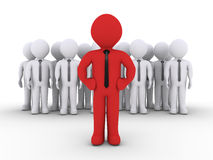 Business team and the leader. 3d businessmen as a team and one is in front as the leader Stock Images
