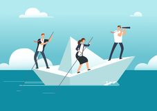 Business team with leader sailing on paper boat in ocean of opportunities to goal. Successful teamwork and leadership. Vector concept. Success people with main vector illustration