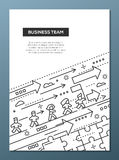 Business Team - line design brochure poster template A4. Business Team - vector line design brochure poster, flyer presentation template, A4 size layout Royalty Free Stock Images