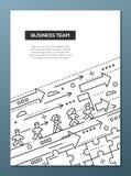 Business Team - line design brochure poster template A4. Business Team - vector line design brochure poster, flyer presentation template, A4 size layout stock illustration