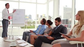 Business team listening to presentation. In the office stock footage
