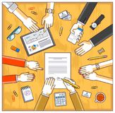 Business team make a presentation for investor and explains their plan with analytics, loaner or CEO chief signs financial. Document or order approve, deal vector illustration