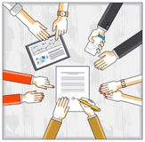 Business team make a presentation for investor and explains their plan with analytics, loaner or CEO chief signs financial. Document or order approve, deal stock illustration