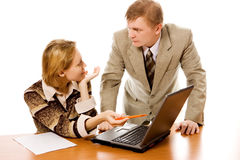 Business team man and woman and laptop Royalty Free Stock Photos