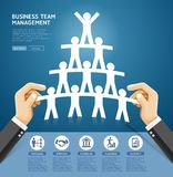 Business team management conceptual design. Hand holding a paper. Cut people team. Vector Illustrations stock illustration