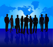 Business Team Manager Introduces Project. Silhouette illustration of business team by introducing Stock Image