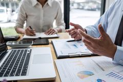 Business team manager meeting discussing company project success financial statistics, Professional investor working start up. Project for strategy plan with royalty free stock photo