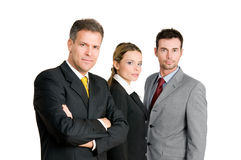 Business team with mature man leading Stock Images