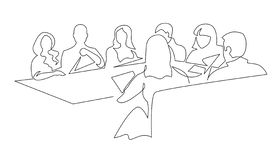 Business team meeting continuous line drawing vector illustration