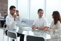 Business team meeting at the Desk in the office. Office weekdays stock photography