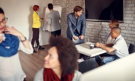 Business team – meeting, discussion, talking and sharing ideas Royalty Free Stock Photos