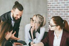 Business team meeting office crush woman boss. Business team meeting. Office crush. Young women adoring boss stock images