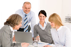 Business team meeting people around table Stock Photo