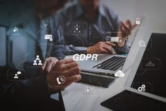 Business team meeting. Photo professional investor working new s. GDPR. Data Protection Regulation with Cyber security and privacy virtual diagram.Business team Royalty Free Stock Photos
