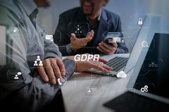 Business team meeting. Photo professional investor working new s. GDPR. Data Protection Regulation with Cyber security and privacy virtual diagram.Business team Stock Photos