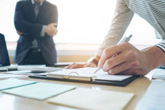 Business team meeting present. secretary presentation. new idea Stock Photos