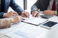 Business team meeting present, Secretary presentation new idea and making report to professional investor with new finance project stock images