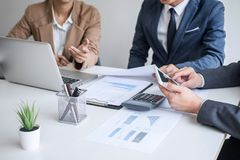 Business team meeting present, Secretary presentation new idea and making report to professional investor with new finance project stock photo